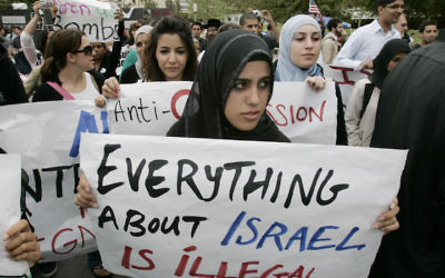 Students protest at an anti-Israel demonstration at the University of California, Irvine. (Mark Boster/Los Angeles Times via Getty Images)