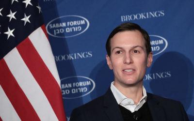 Jared Kushner speaking with Haim Saban at the Saban Forum in Washington, D.C., Dec. 3, 2017. (Drew Angerer/Getty Images)