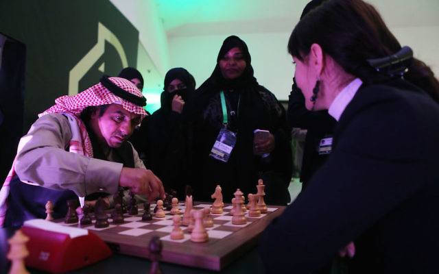 Attendees playing chess at the King Salman Rapid Blitz Chess Championships in Riyadh, Saudi Arabia, Dec. 25, 2017. (Salah Malkawi/ Getty Images)