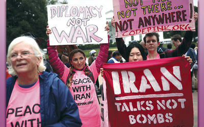 Activists in front of the White House protest President Donald Trump's decision to decertify the Iran deal on October 12. (Alex Wong/Getty Images)