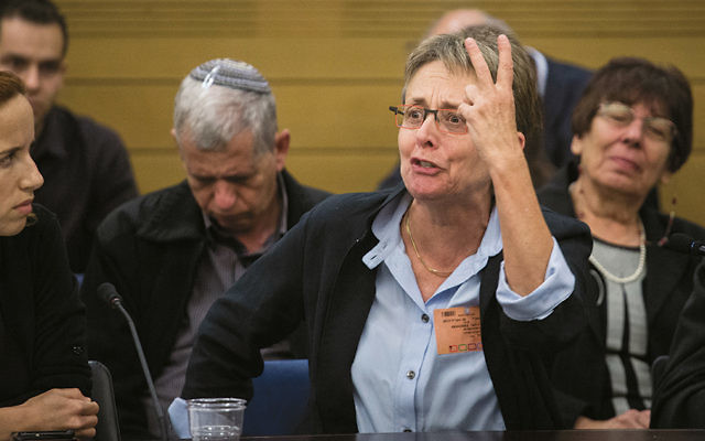 Leah Goldin, mother of late Israeli soldier Hadar Goldin, speaks at a Knesset meeting on April 19, 2017. (Hadas Parush/Flash90)