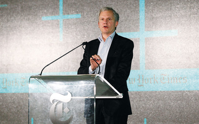 Arthur Ochs Sulzberger Jr. speaks at the New York Times' New Work Summit in Half Moon Bay, Calif., on Feb. 29, 2016. (Kimberly White/Getty Images for New York Times)