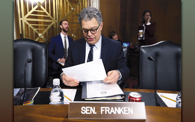 Senator Al Franken at a Capitol Hill committee hearing on hurricane recovery efforts in Puerto Rico on November 14, 2017. (Mark Wilson/Getty Images)