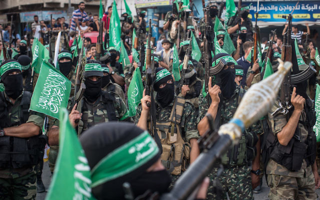 Hamas militants at a military show in the Bani Suheila district of Gaza, July 20, 2017. (Chris McGrath/Getty Images)