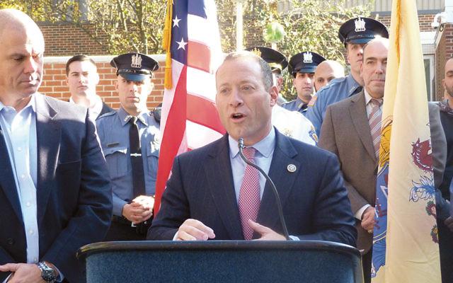 Representative Josh Gottheimer announces a $1.8 million COPS grant for Paramus as Mayor Rich LaBarbiera listens on November 28, 2017.   (Photos courtesy Josh Gottheimer)