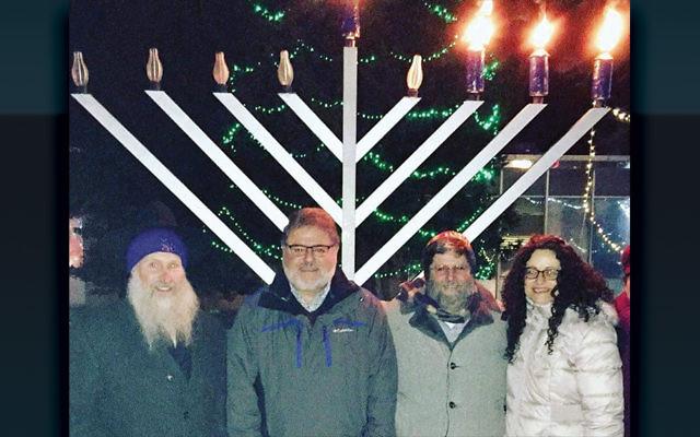From left, Rabbi Michel Gurkov of Chabad of Wayne, Wayne's Mayor Christopher Vergano, Rabbi Randall Mark of Shomrei Torah, and Rabbi Meeka Simerly of Temple Beth Tikvah. (Courtesy Mayor Chris Vergano)