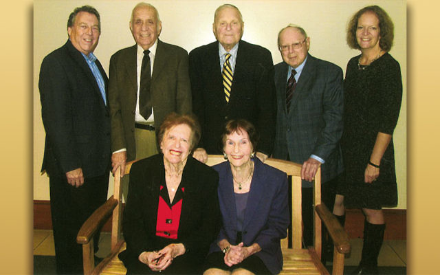 Front row, from left, Helen Levine and Janice Rosen. Michael Green, Bob Levine, Gerald Rosen, Charles Shain, and Jocelyn Inglis, JNF's northern New Jersey director, are in the back. (Gerald Bernstein)