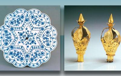 Seder plate c. 1900, Vienna. Torah case finials, Cochin, India, 18th-19th century. (Photos courtesy Jewish Museum, New York)