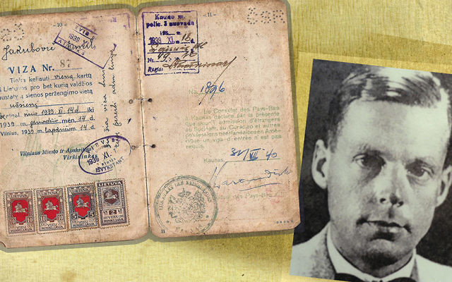 "Jan Zwartendijk, inset, and one of the ""quasi-visas"" he issued to Jewish refugees in Lithuania. (JTA collage/Wikimedia Commons)"