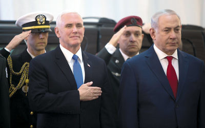 Vice President Mike Pence, left, stands with Israeli Prime Minister Benjamin Netanyahu during an official welcome ceremony at the prime minister's office in Jerusalem on January 22. (Lior Mizrahi/Getty Images)