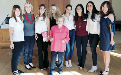 Irene Steinberg, far right, at the UJA-Federation of New York Scarsdale Women's Opening Event with Dr. Ruth Westheimer, October 26, 2017. (Courtesy of the UJA-Federation)