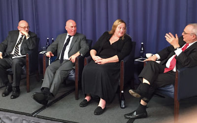 From left, Ira Forman, Michael Whine, Heidi Beirich, and Rabbi David Saperstein participate in a panel discussion in Washington, D.C., on January 22 about the rise of the far right and anti-Semitism. (Ron Kampeas)