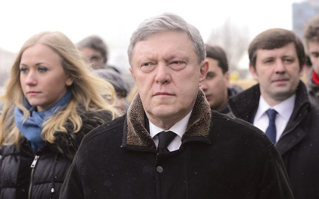 Russian politician Grigory Yavlinsky at a ceremony for slain opposition leader Boris Nemtsov at the Saharovsky Center in Moscow on March 3, 2015.  (Sefa Karacan/Anadolu Agency/Getty Images)
