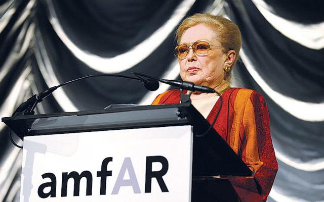Mathilde Krim speaks at the amfAR New York Gala in New York on February 10, 2010. (Larry Busacca/Getty Images)