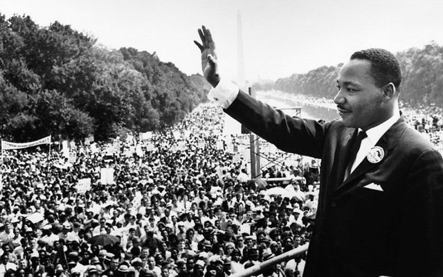 "Martin Luther King Jr. addresses a crowd from the steps of the Lincoln Memorial where he delivered his famous ""I Have a Dream,"" speech during the August 28, 1963, march on Washington, D.C."