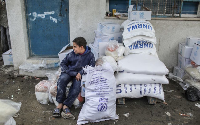 A boy sitting near sacks of flour distributed by the United Nations Relief and Works Agency for Palestine Refugees in the Near East (UNRWA) at the Al-Shati Refugee Camp in Gaza City, Gaza, Jan. 15, 2018. (Ali Jadallah/Anadolu Agency/Getty Images)