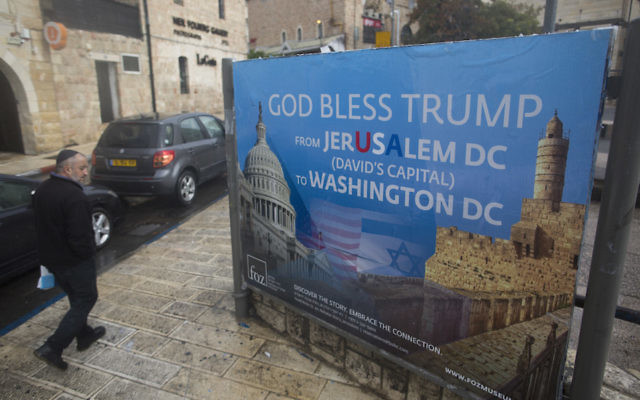 A poster praising President Donald Trump in Jerusalem, Dec. 6, 2017. (Lior Mizrahi/Getty Images)