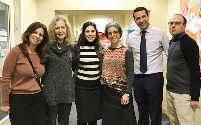 From left, Nancy Edelman, Arnee Winshall, Tikvah Wiener, Rochie Sommer, Tavi Koslowe, and JCDS Head of STEM Innovation Jared Matas stand together at JDCS in Boston.
