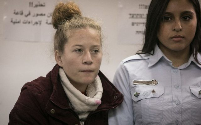 Ahed Tamimi, then 16, in an Israeli military court following her arrest at her home in the West Bank village of Nabi Saleh on Dec. 25, 2017. (Flash90)