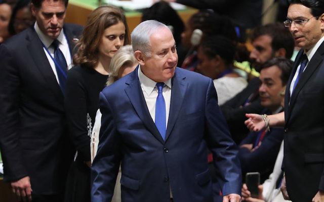 Israeli Prime Minister Benjamin Netanyahu at United Nations headquarters in New York, September 2017. (Spencer Platt/Getty Images)