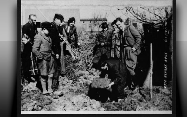 Excavating Henryk Ross's buried box of negatives and documents in the ghetto March 1945. Positive halftone on polyester film sheet. The print shows the excavation of the box containing documents and photographs of life in the Lodz Ghetto from 1940 to 1944. (Photographs courtesy Art Gallery of Ontario. Gift from Archive of Modern Conflict, 2007.)