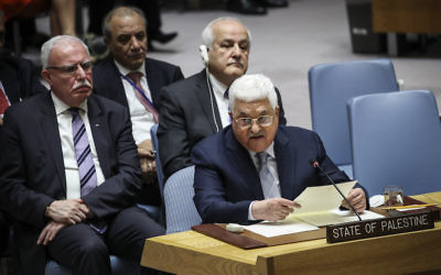 Palestinian Authority President Mahmoud Abbas speaking at a United Nations Security Council meeting in New York, Feb. 20, 2018. (Drew Angerer/Getty Images)