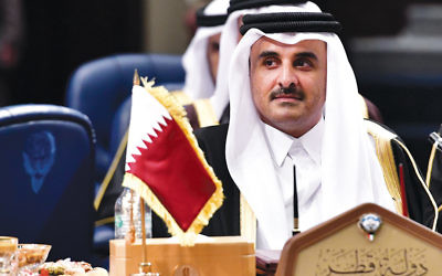 Qatar's emir, Sheikh Tamim bin Hamad al-Thani, at the Gulf Cooperation Council summit at the Bayan Palace in Kuwait City on December 5, 2017.  (Giuseppe Cacace/AFP/Getty Images)