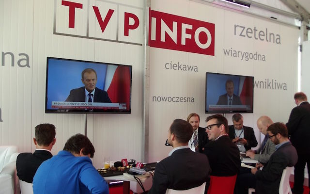 TVP, the state-owned television station in Poland, apologized to an Israeli ambassador for a tweet accusing Israel of ulterior motives in objecting to a new law regulating how Poles may discuss the Holocaust. (Flickr Commons/Piotr Drabik)
