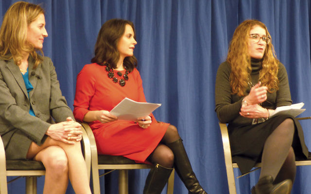 From left, Dr. Elizabeth Jewell, Joanna Gagis, and Dr. Deena Graham talked about how people can learn about their chances of developing cancer at the Hackensack Medical Center.