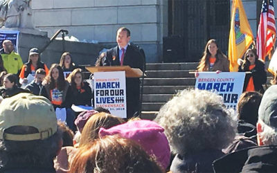 The day after the rally in Rockleigh, Josh Gottheimer (D-Dist 5) talked at a March for our Lives rally in Hackensack.