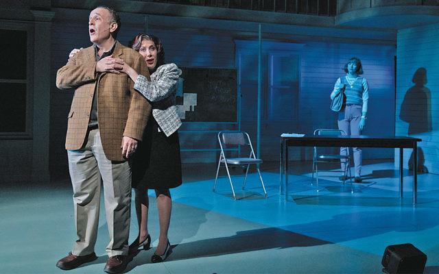 Cheryl Stern (Frannie) hugs Adam Heller (Harry) as Julia Knitel (Barbara) looks on. (Russ Rowland/ALTHM)