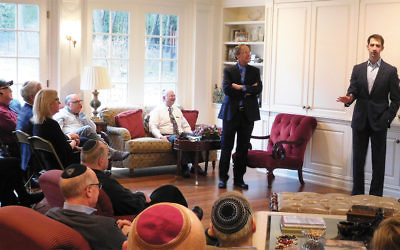 Senator Tom Cotton addressing the crowd at the Parker residence.