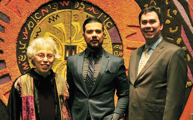 Harriet Bograd, left, president of Kulanu, Jonatas Chimen, and Rabbi Steven Sirbu. (Barbara Balkin)