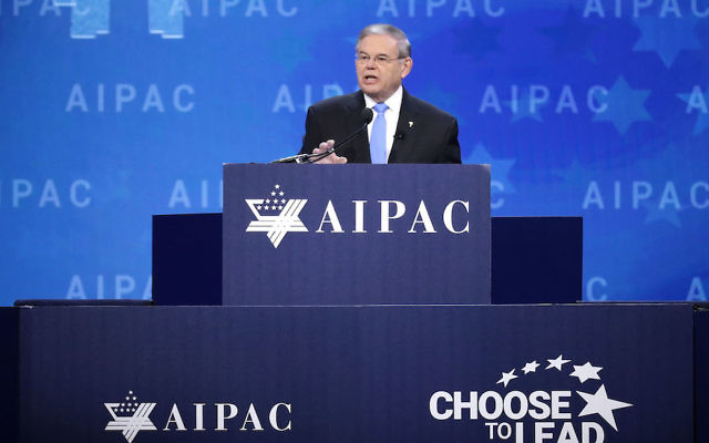 Sen. Robert Menendez speaking at the American Israel Public Affairs Committee's annual policy conference at the Washington Convention Center in Washington, D.C., March 6, 2018. (Chip Somodevilla/Getty Images)