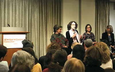 From left: Philanthropist Barbara Dobkin; Deborah Meyer, the founder and CEO of Moving Traditions; Rabbi Joanna Samuels, executive of the Manny Cantor Center; and Rabbi Mira Beth Wasserman, director of Center for Jewish Ethics at the Reconstructionist Rabbinical College speaking at a town hall meeting in New York on sexual harassment in the Jewish community on January 25, 2018. (Aimee Rubensteen/JWFNY)