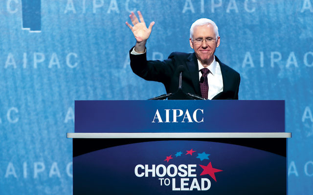 AIPAC's president, Morton Fridman of Teaneck, addresses the AIPAC Policy Conference in Washington on March 4, 2018. (AIPAC)