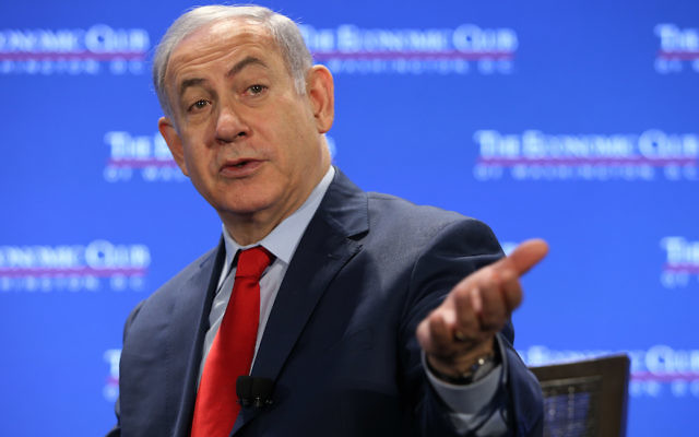 Israeli Prime Minister Benjamin Netanyahu at the Economic Club of Washington breakfast, Renaissance Hotel, March 7, 2018. (Economic Club of Washington)
