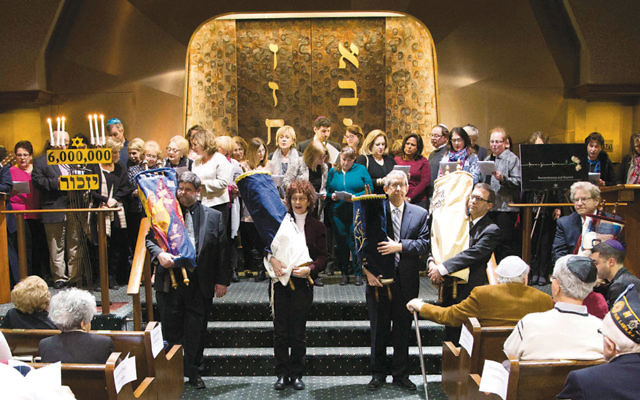 The Holocaust commemoration ceremony at Temple Beth Sholom in Fair Lawn. (Photos courtesy JFNNJ)
