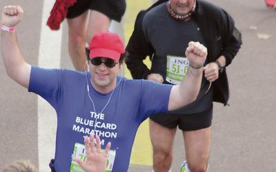 Josh Lipowsky of Teaneck, a former Jewish Standard associate editor, ran the NYC Marathon on the Blue Card Team a few years ago. (Photo courtesy Josh Lipowsky)