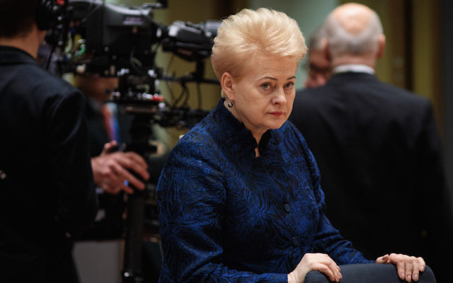 Lithuanian President Dalia Grybauskaite at the European Council leaders' summit in Brussels, March 23, 2018. (Jack Taylor/Getty Images)