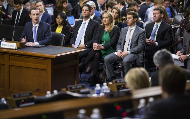 Facebook CEO Mark Zuckerberg testifying before a combined Senate Judiciary and Commerce committee hearing on Capitol Hill in Washington, D.C., April 10, 2018. (Zach Gibson/Getty Images)