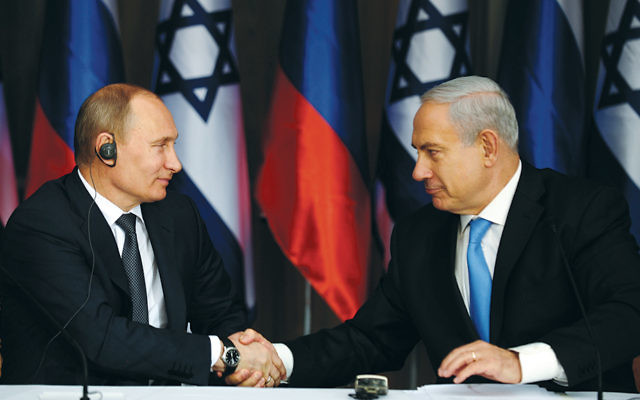 Russian President Vladimir Putin, left, and Israeli Prime Minister Benjamin Netanyahu at a joint news conference at the Israeli leader's Jerusalem home on June 25, 2012. (Kobi Gideon/GPO via Getty Images)