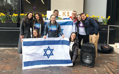 Student organizers of an Israel Independence Day celebration at NYU on April 19, 2018. They include Adela Cojab, Jenny Labovitz and Esther Bildirici, front row, left to right, and Gabe Hoffman, back row, right. (Josefin Dolsten)