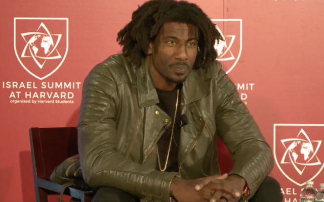 Amar'e Stoudemire speaking at the Israel Summit at Harvard University, April 8, 2018. (Screenshot from Facebook)