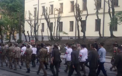 A view of some of the marchers in Lviv, Ukraine on Saturday. (Screenshot from YouTube)
