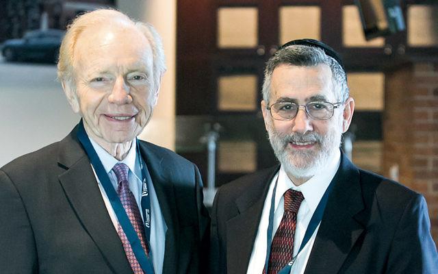 Joseph Lieberman, left, with Rabbi Menachem Genack.