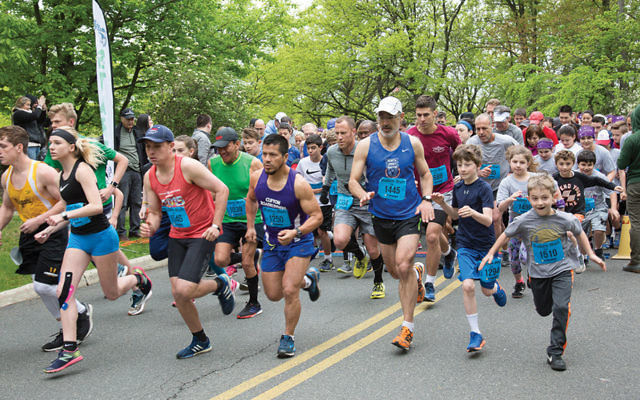 Runners of all ages begin the 5K race at the Kaplen JCC on the Palisades. (Photos Courtesy JCCOTP)