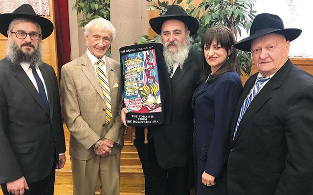 Rabbi Mendel Zaltzman, left, Edward Mosberg, Rabbi Mordechai and Shterney Kanelsky, and Rabbi Berel Zaltzman. (Courtesy Bris Avrohom)