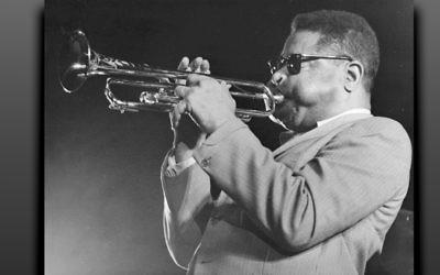 Jazz great Dizzy Gillespie in a photograph by Chuck Stewart. (Courtesy bergenPAC)
