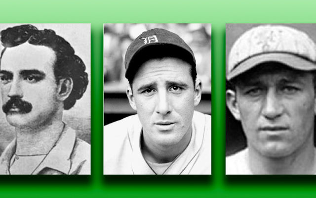 "Lipman Pike, the first great Jewish baseball player, left; Hank Greenberg, (Henry Benjamin Greenberg), nicknamed ""Hammerin' Hank,"" ""Hankus Pankus,"" or ""The Hebrew Hammer;"" and Mose Hirsch Solomon, nicknamed the Rabbi of Swat, are among the players to be discussed. (Photos courtesy Congregation Beth Aaron)"